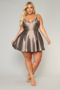 Plus Size Metallic Mini Dress