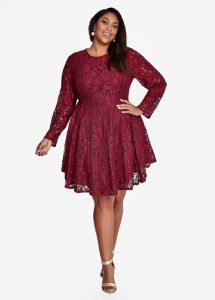 Plus Size Red Lace Skater Dress