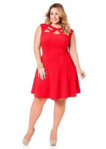 Plus Size Red Skater Dress