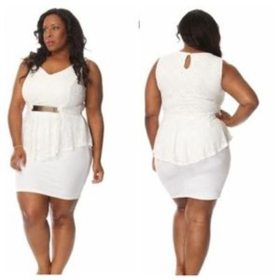 White Peplum Dress Plus Size | Attire Plus Size