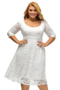 Plus Size White Skater Dress With Sleeves