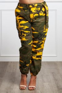 Plus Size Yellow Camo Joggers