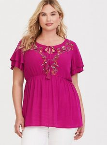 Plus Sized Embroidered Tops