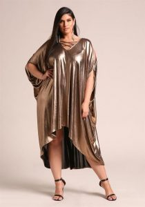 Plus Sized Metallic Dress