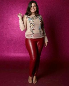 Red Plus Size Metallic Leggings