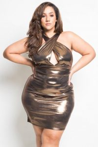 Shinning Metallic Dress In Plus Size