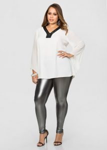 Shiny Leggings In Plus Size