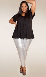 Silver Plus Size Metallic Leggings