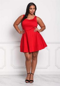 Sleeveless Plus Size Red Skater Dress