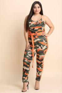 Belted Plus Size Camouflage Jumpsuit