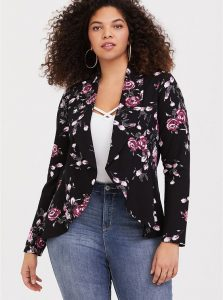 Black Plus Size Floral Blazer