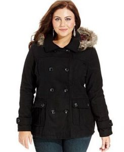 Black Plus Size Pea Coats With Hoods