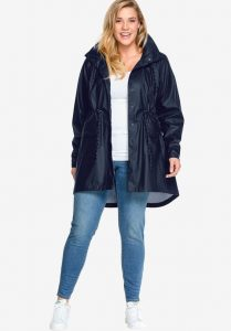 Black Plus Size Rain Jacket With Hood