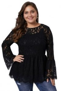 Floral Lace Sleeve Top In Black