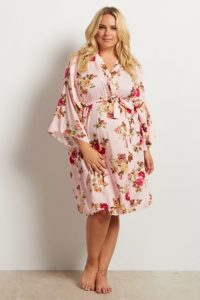 Floral Printed Plus Size Nursing Gown
