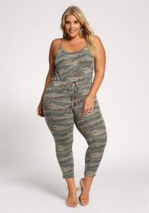 Grey Plus Size Camouflage Jumpsuit
