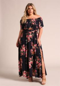 Long Plus Size Floral Dress