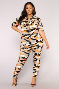Orange Camo Print Plus Size Jumpsuit