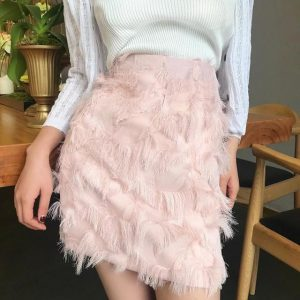 Pink Feather Plus Size Skirt