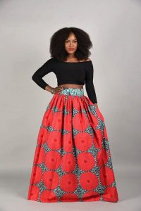 Plus Size African Print Maxi Skirts