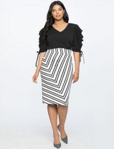 Plus Size Black And White Pencil Skirt