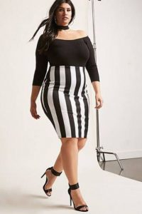 Plus Size Black And White Striped Pencil Skirt