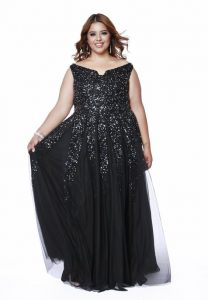 Plus Size Black Sequin Bridesmaid Dress