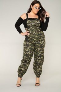 Plus Size Camo Jumpsuit