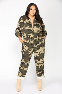 Plus Size Camouflage Jumpsuit For Women