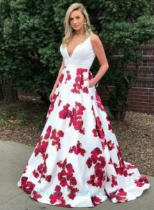 Plus Size Floral Printed Prom Dresses