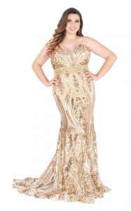 Plus Size Gold Sequin Bridesmaid Dress