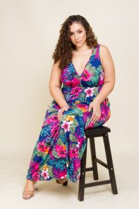 Plus Size Hawaiian Print Maxi Dress