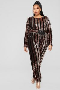 Plus Size Jumpsuit Sequin