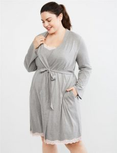 Plus Size Lace Trim Nursing Gown