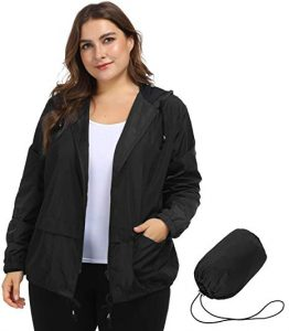 Plus Size Packable Rain Jacket With Hood