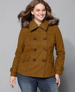 Plus Size Pea Coats With Fur Hoods