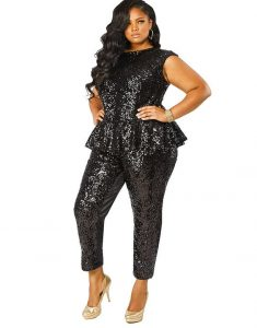 Plus Size Sequin Peplum Jumpsuit