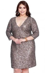 Plus Size Sequined Bridesmaid Dress