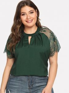Plus Size Short Sleeve Lace Tops
