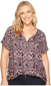 Plus Size Short Sleeve Peasant Tops