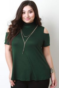 Plus Size Short Sleeve Turtleneck Tops