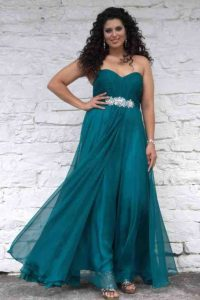 Plus Size Teal Bridesmaid Gown