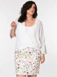 Plus Size White Floral Pencil Skirt