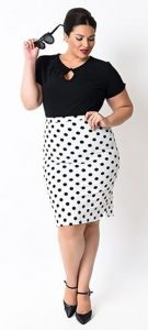 Plus Size White Polka Dot Pencil Skirt
