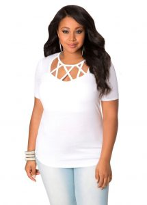 Plus Size White Short Sleeve Top