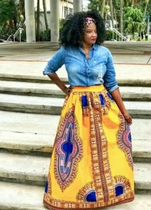 Plus Sized African Print Maxi Skirt