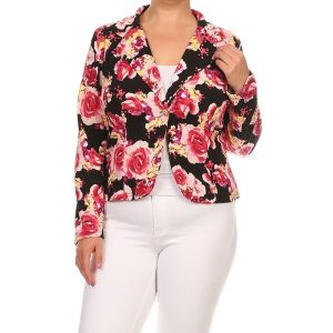 Plus Sized Floral Blazer