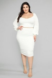 Plus Sized White Pencil Skirt