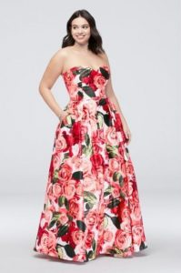 Red Floral Print Plus Size Prom Dresses
