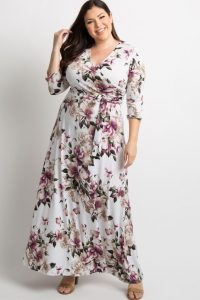 White Floral Plus Size Long Dress